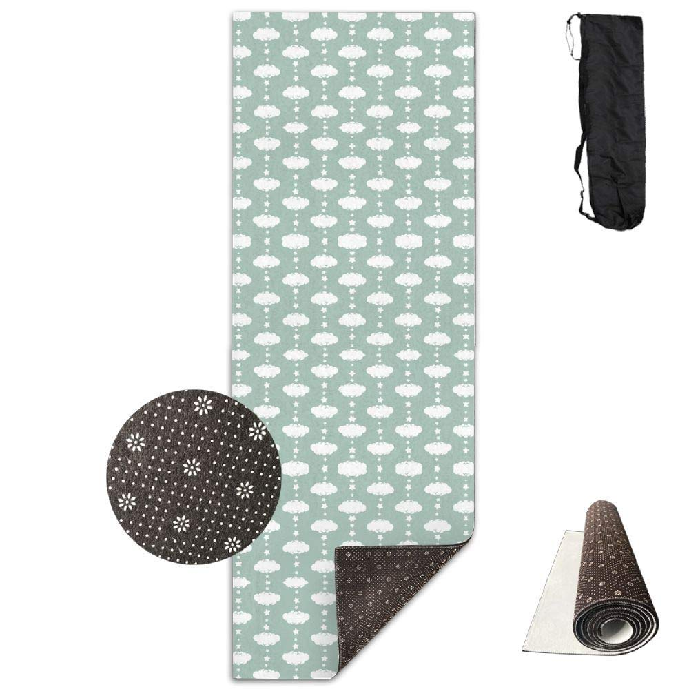 70Inch Long 28Inch Wide Comfort Velvet Yoga Mat, Cloud 9 Mini Coral Clouds & Stars Fabric (3899) Mat Carrying Strap & Bag