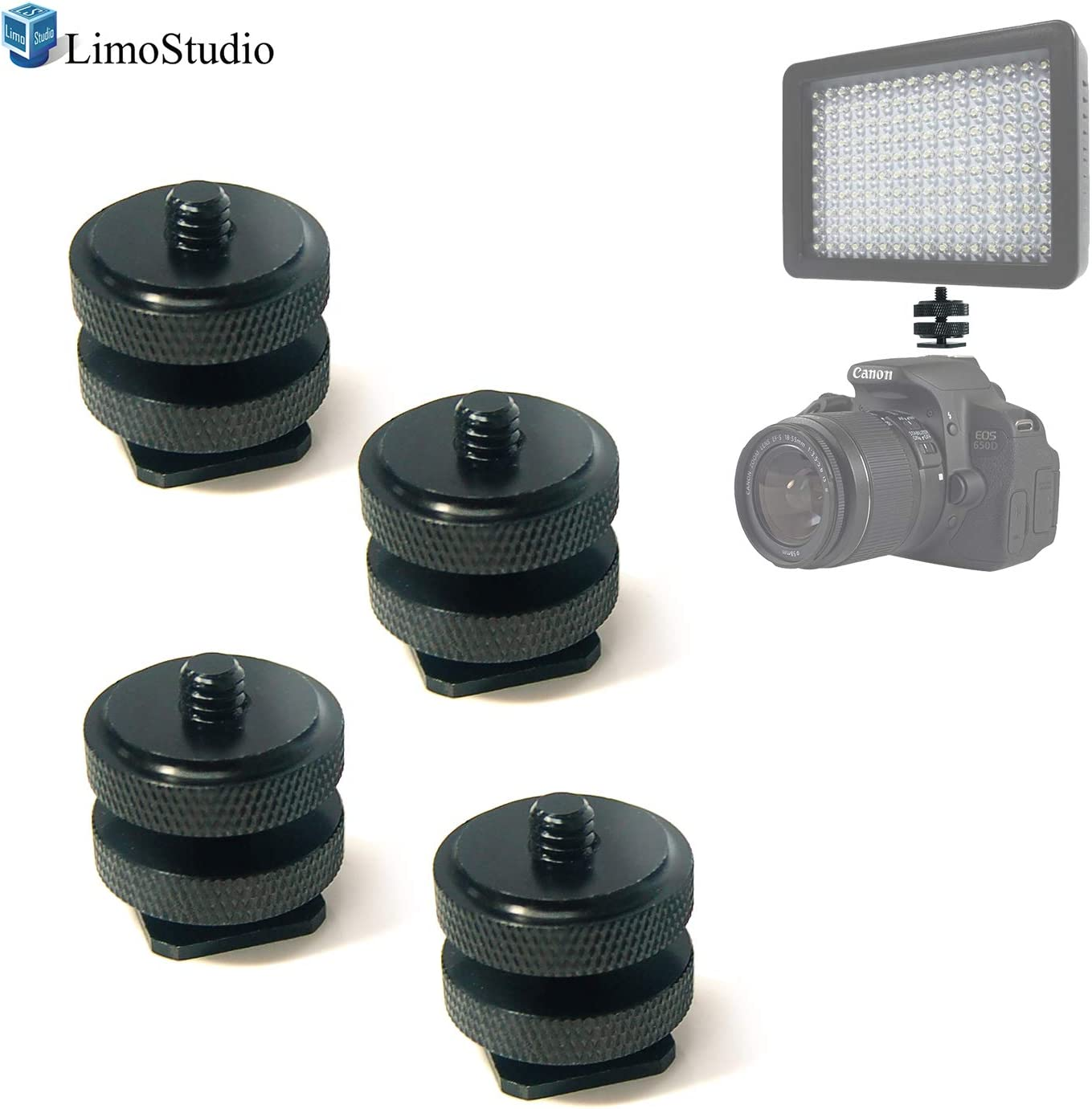 Flash Shoe Mount for DSLR Camera AGG2527 LimoStudio Universal Mini Black Double Screw Angle 1//4 Hot Shoe Mount Adapter Bracket 4-Pack