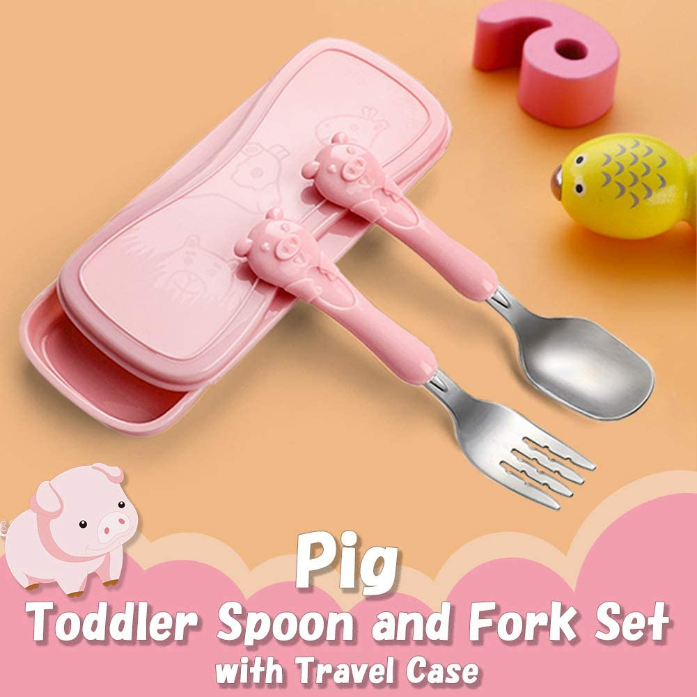 Toddler Utensils Kids Spoon and Fork Set 18//8 Stainless Steel Silverware BPA Free Cute Giraffe Child Flatware with Travel Case for Age 3+