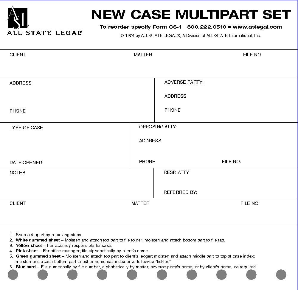 ALL-STATE LEGAL New Case File System, 5 Part NCR, 100 per Package