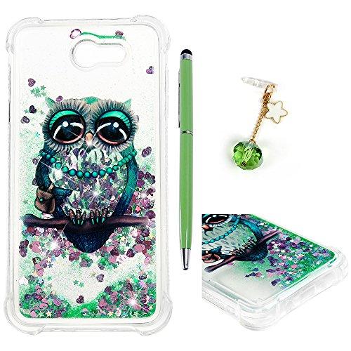 Galaxy J7 Case, J7 Case, Liquid Glitter Case Cover Sparkle Love Heart Clear TPU Shockproof Bumper Samsung Galaxy J7 Case 2017 ZSTVIVA-Cute Big Eyes Green -