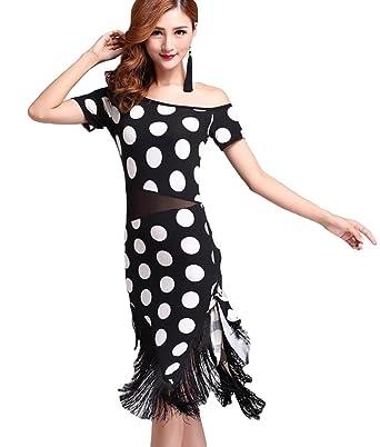 NiSeng Mujer Dot impresión Borla Swing Falda Baile Latino ...