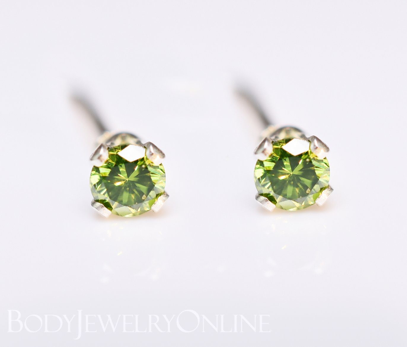 Genuine GREEN DIAMOND Earring Studs 2mm 0.08tcw Post 14k Solid Gold (Yellow, Rose or White), Platinum, Silver Lobe Cartilage Helix Tragus