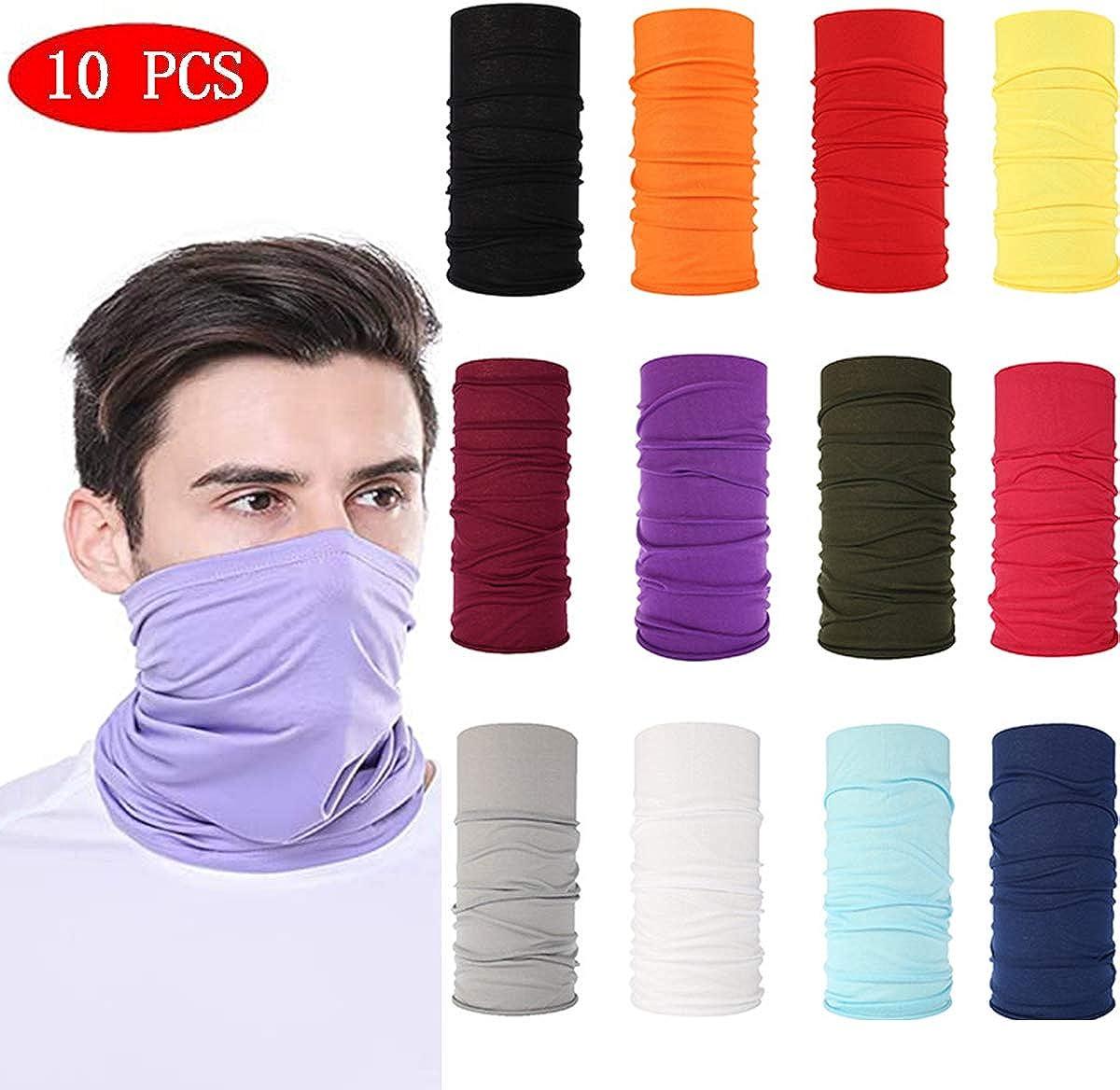 Multi-purpose Face Cover for Men Women 10pcs Scarf Bandanas Neck Gaiter