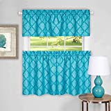 Sweet Home Collection Contemporary Design 3 Piece Kitchen Curtain Set with Tier Pair and Valance, 24″, Turquoise Review