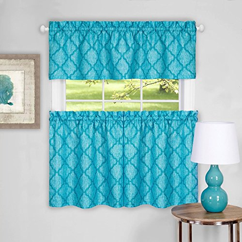 - Sweet Home Collection Contemporary Design 3 Piece Kitchen Curtain Set with Tier Pair and Valance, 24