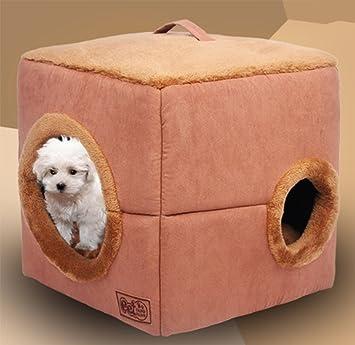 GARGSZ Moderno Y Creativo Agujero Cuadrado Habitación para Mascotas Perro Portátil Casa Cálida Felpa Cama para Gatos Casa De Perro Casa De Perro Cálido ...