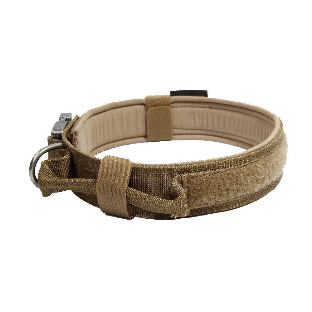 EXCELLENT ELITE SPANKER Tactical Dog Collar Military Training Nylon Adjustable Dog Collar with Control Handle(Coyote Brown-L)