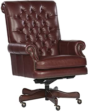Tufted Leather Executive Office Chair Color: Merlot: Amazon