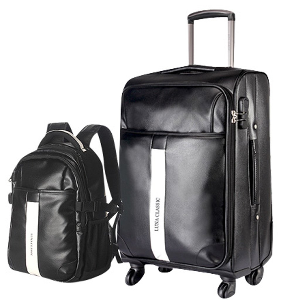 Men PU Leather Spinner Black Luggage and Backpack 2PCS Travel Luggage Set - 28 Inch Suitcase Set