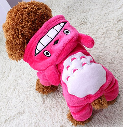 Clothes Hoodie Warm Sweater Shirt Puppy Autumn Winter Coat Doggy Fashion Jumpsuit Apparel, Rose, M (Kl Apparel)