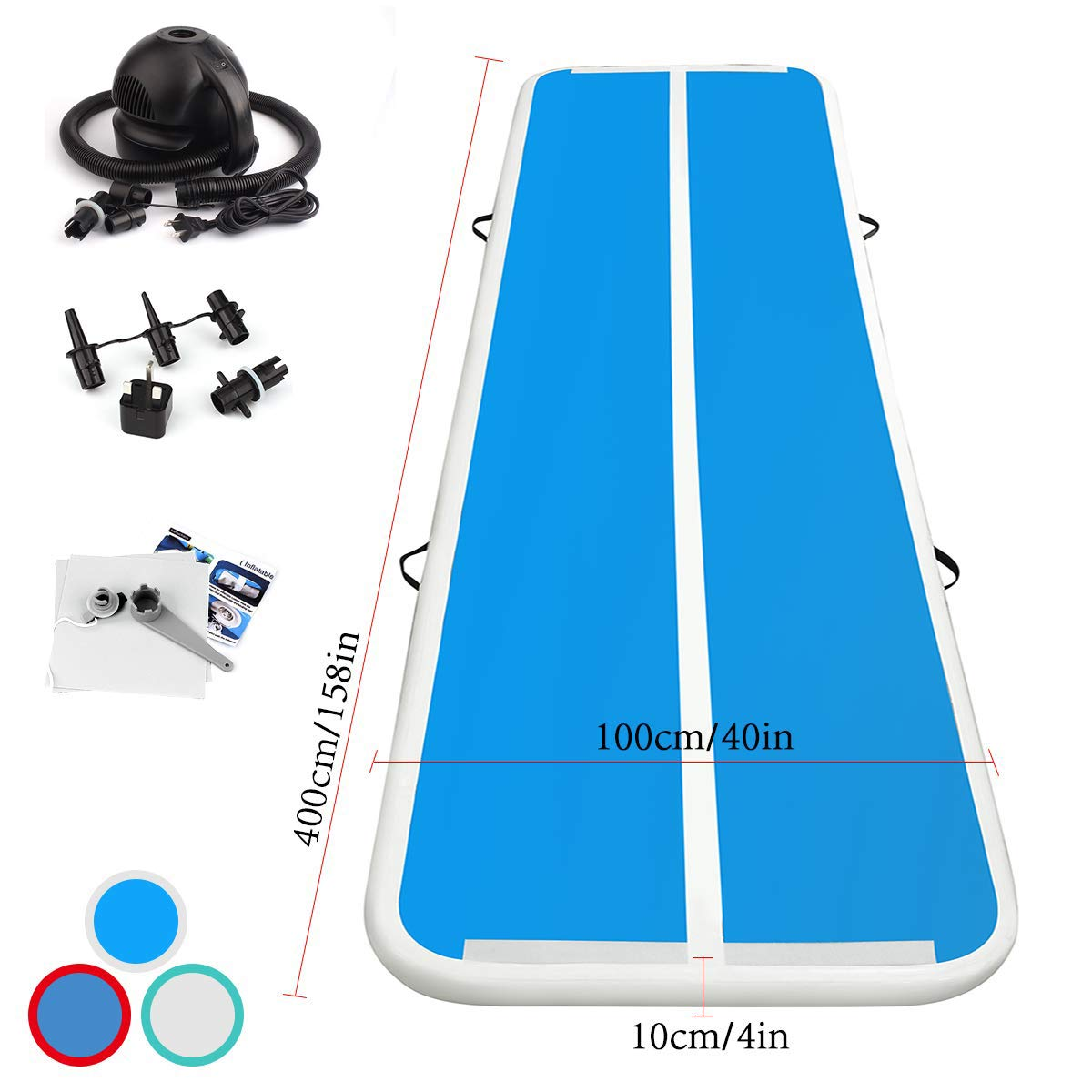 Pump 3//4//5//6M Inflatable Air Track Floor Home Gymnastics Pad Tumbling Mat GYM
