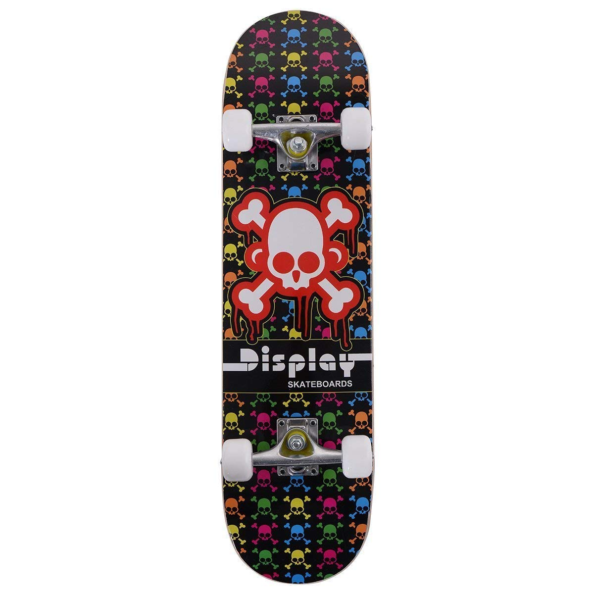 Costzon 31'' x 8'' Complete Skateboard Maple Deck Wood Professional Skate Board (Skull)