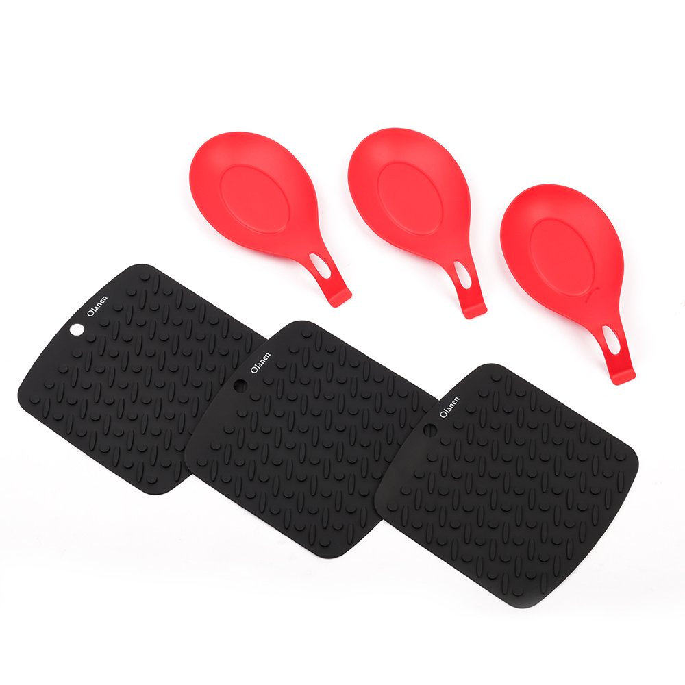 Silicone Spoon Rest and Silicone Placemat Pot Holder Jar Opener Garlic Peeler Spoon Rest Heat Resistant Dishwasher Safe Set of 6 Olanen OS1504-CF
