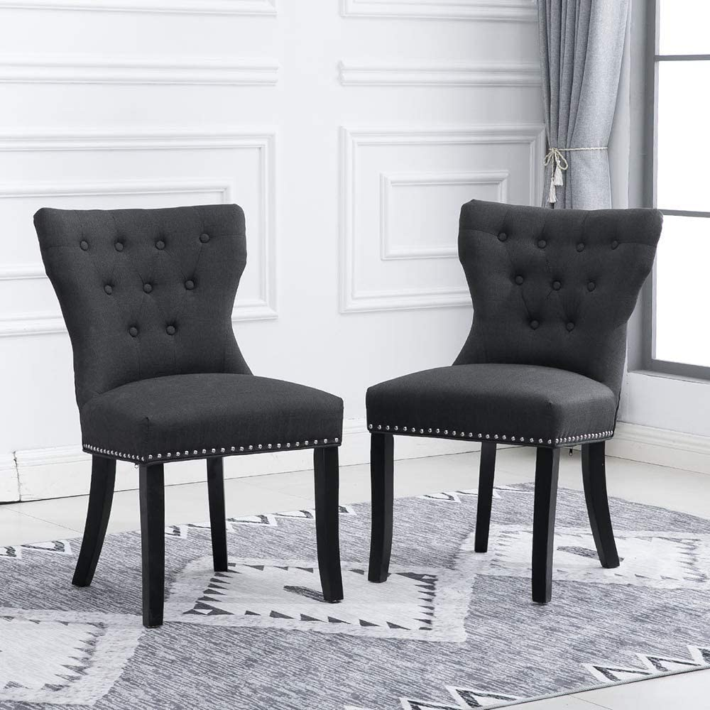 BOJU 5 Kitchen Armless Dining Chair Set Charcoal Grey Fabric Upholstered  Padded Accent Occasional Wingback Leisure Chairs for Dressing Desk Lounge