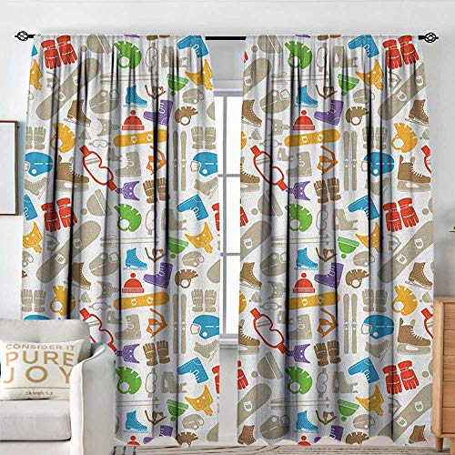 Petpany Blackout Valances for Girls Bedroom Sport,Skates Gloves Winter Season Activities Equipment Silhouettes Entertaintment Snowboard, Multicolor,Rod Pocket Curtains for Big Windows -