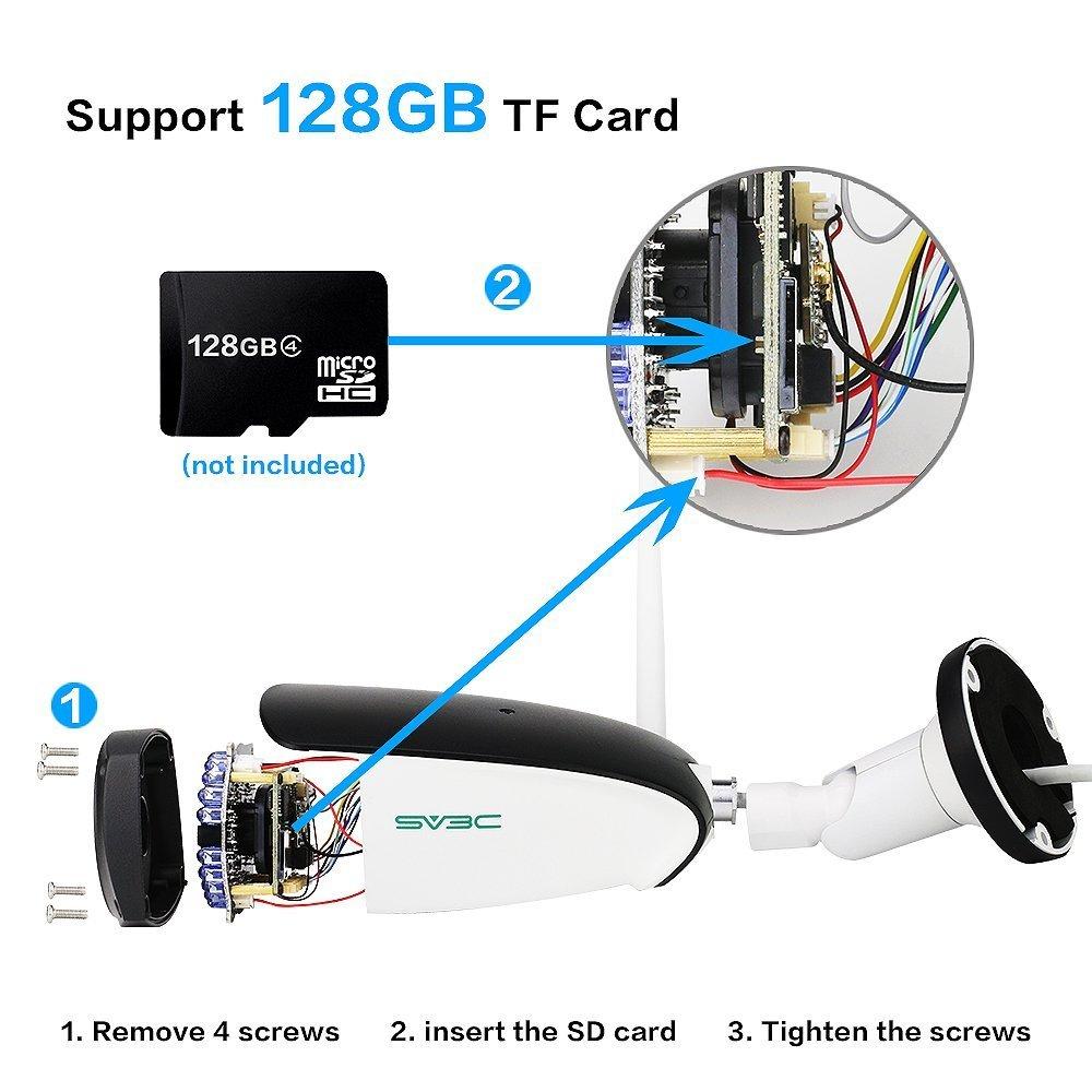 SV3C 720P WLAN IP /überwachungskamera Aussen//IP66 Wireless IP Kamera mit Deutscher Anleitung Bewegungserkennung,20M Nachtsichtfunktion,128G TF Karten und Kompatibel mit Smartphones,Tablets und Windows