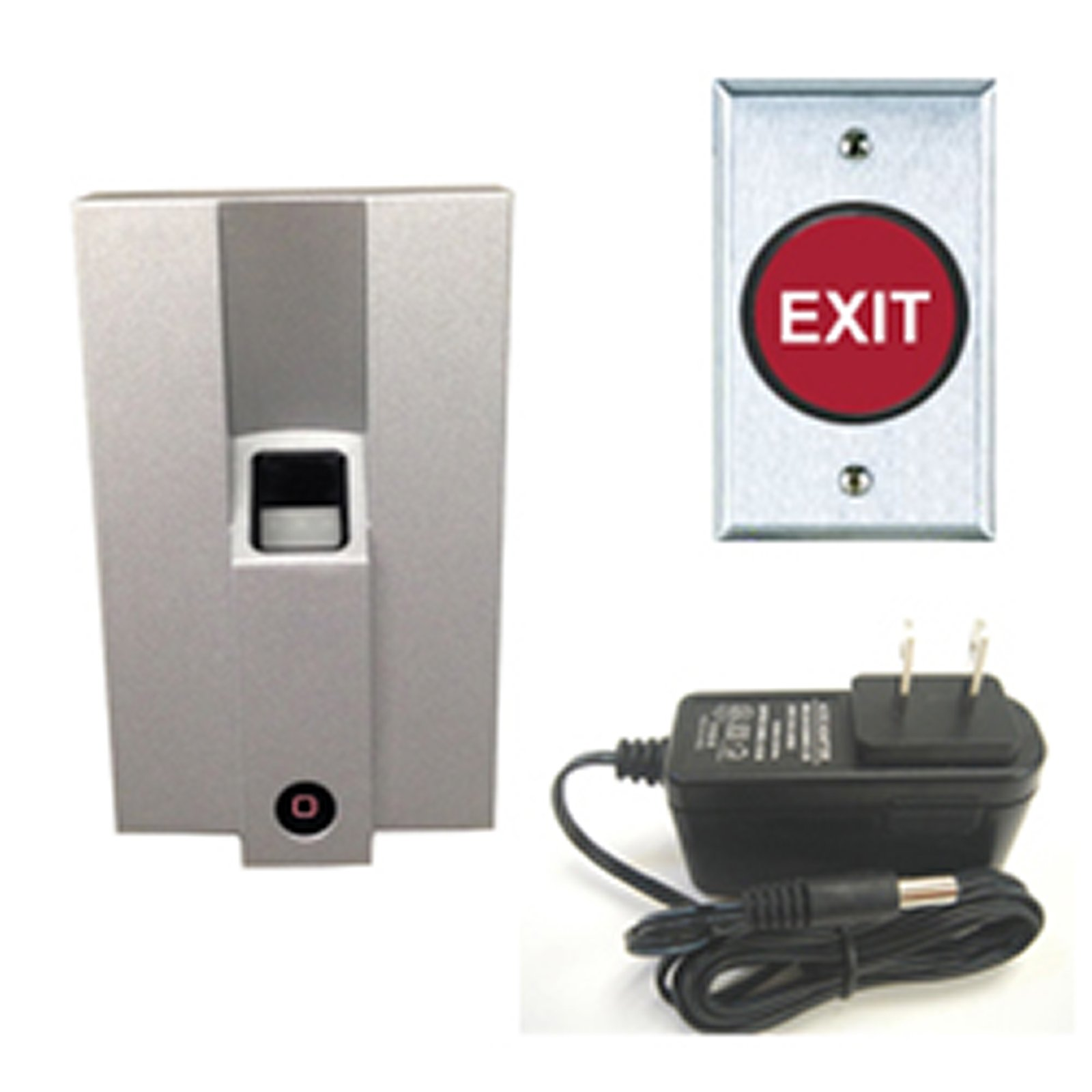 Metal Fingerprint Access Control/Reader FAS-SB-01SF 125 KHz kit with Push Button H-PB4RE and Power Supply Transformer by FAS