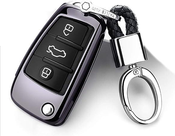 Ontto Klapp Autoschlüssel Hülle Fall Für Audi A1 A3 A4 A6 Q3 Q5 Q7 S3 R8 Tt 3 Taste Weiche Tpu Schlüsselhülle Mit Schlüsselanhänger Keyless Go Schlüsselbox Schlüsselschutz Black Auto