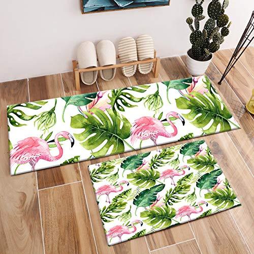 HVEST 2pcs Flamingo and Monstera Leaves Area Rug Set Tropical Bird and Palm Leaf Carpet Non-Slip Runner Rug for Living Room Bedroom Kitchen Floor Mat,(1'4