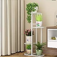 Cretee Staand Bloemenrek, wit plantenrek, metalen bloementrap, 4 niveaus, bloemenetagere (4 niveaus, 5 poten)