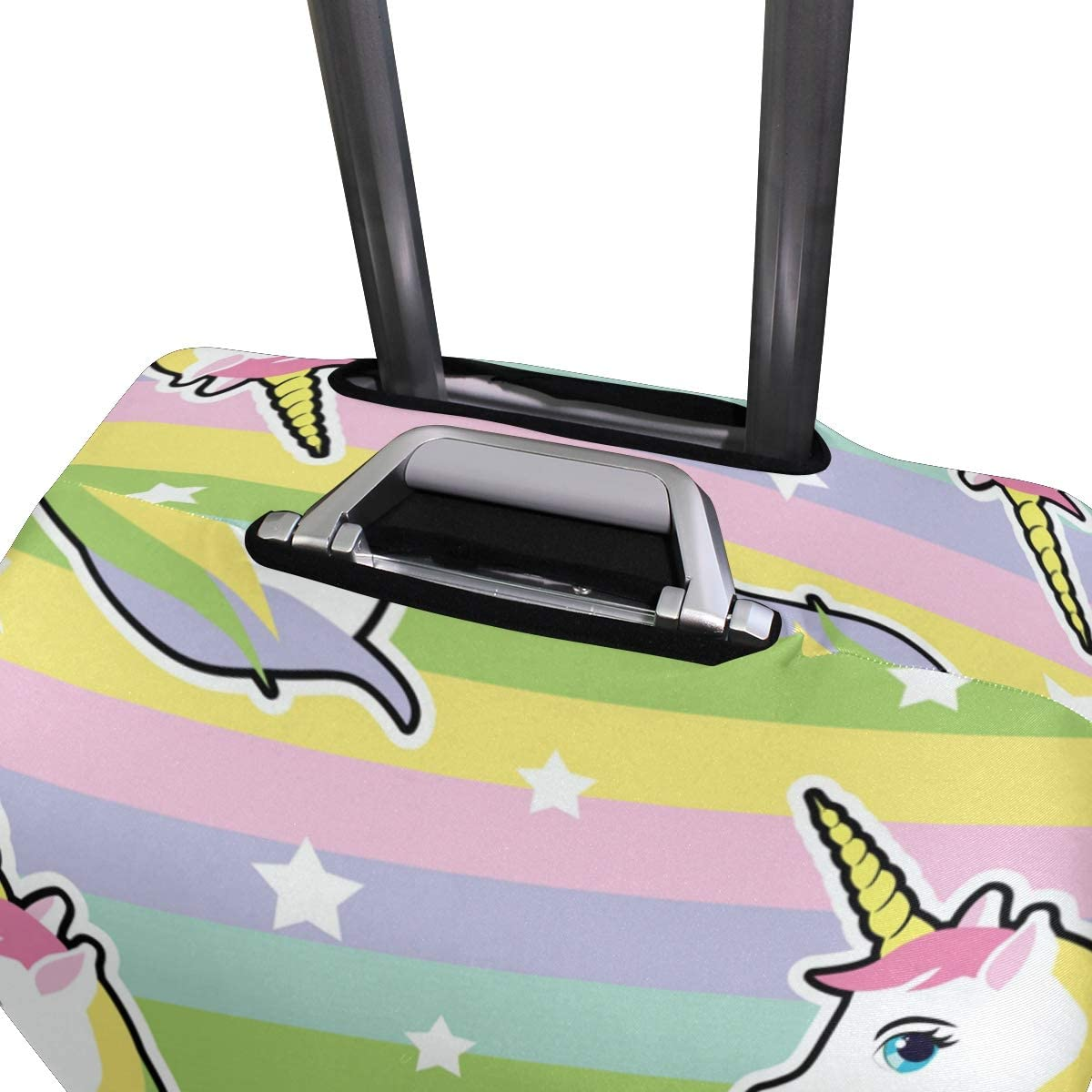 FOLPPLY Colorful Rainbow Hipster Unicorn Pattern Luggage Cover Baggage Suitcase Travel Protector Fit for 18-32 Inch