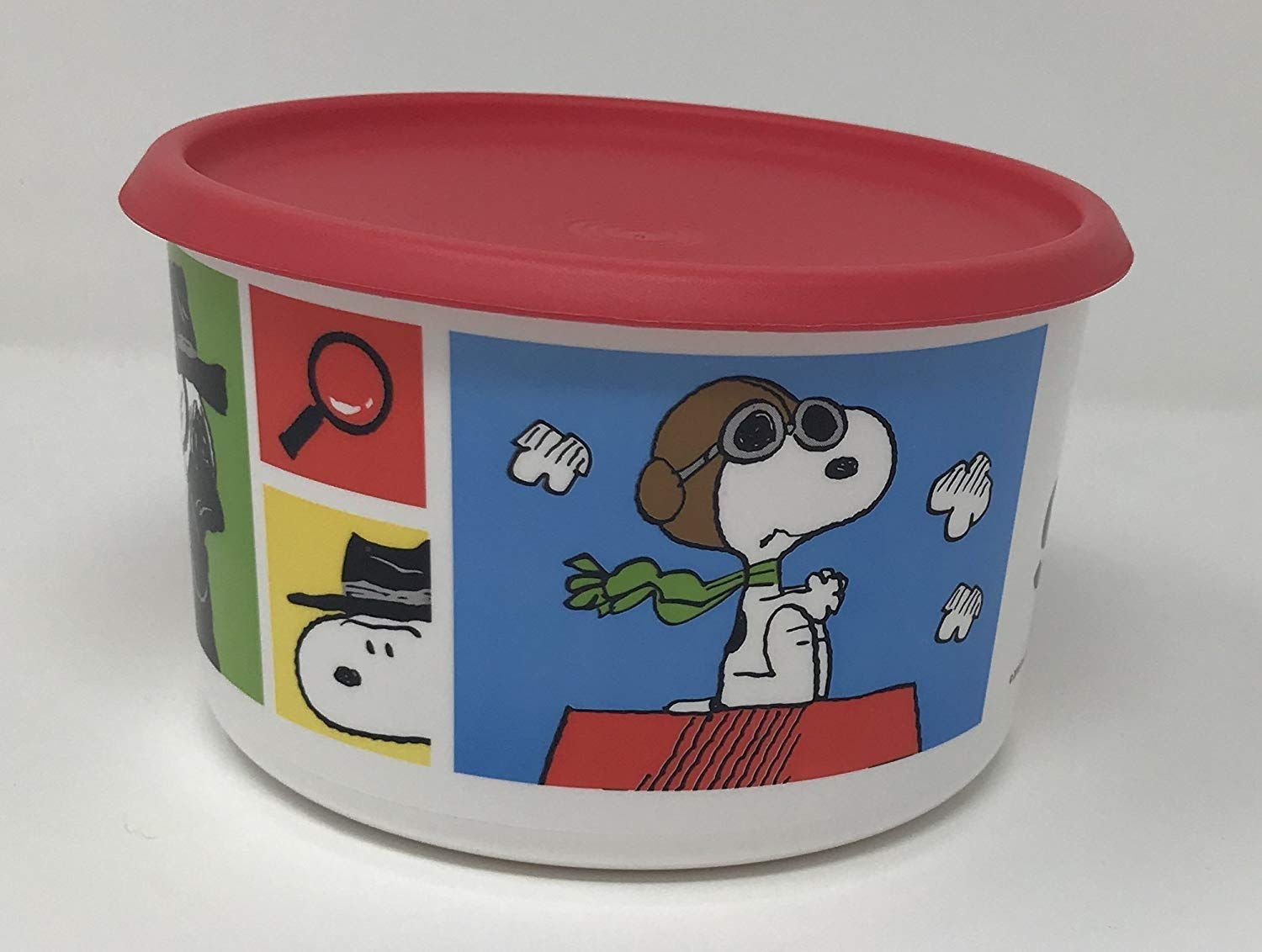 Tupperware 6 Cup Cookie Snack Canister Exclusive Peanuts Snoopy Design with Guava seal
