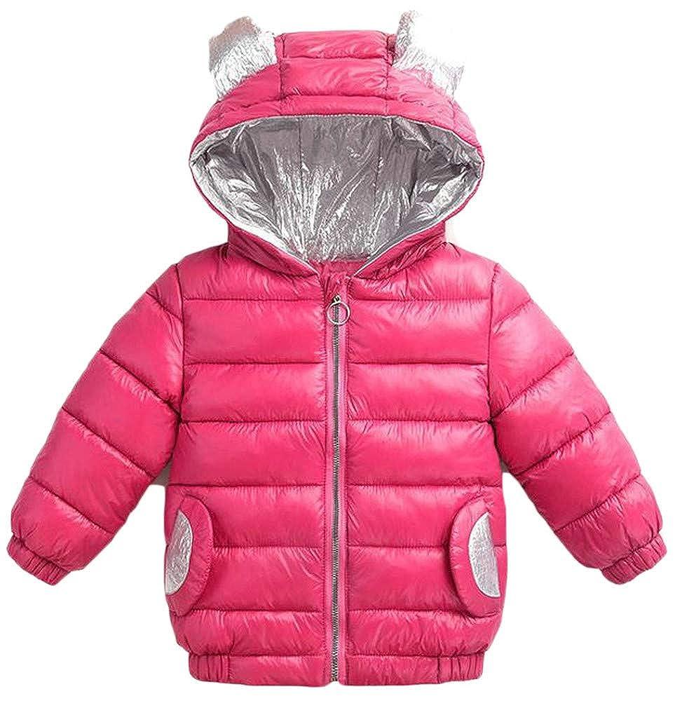 Mocilation Girl Pocket Hoody Quilted Contrast Color Zip Down Jacket Parka Coat