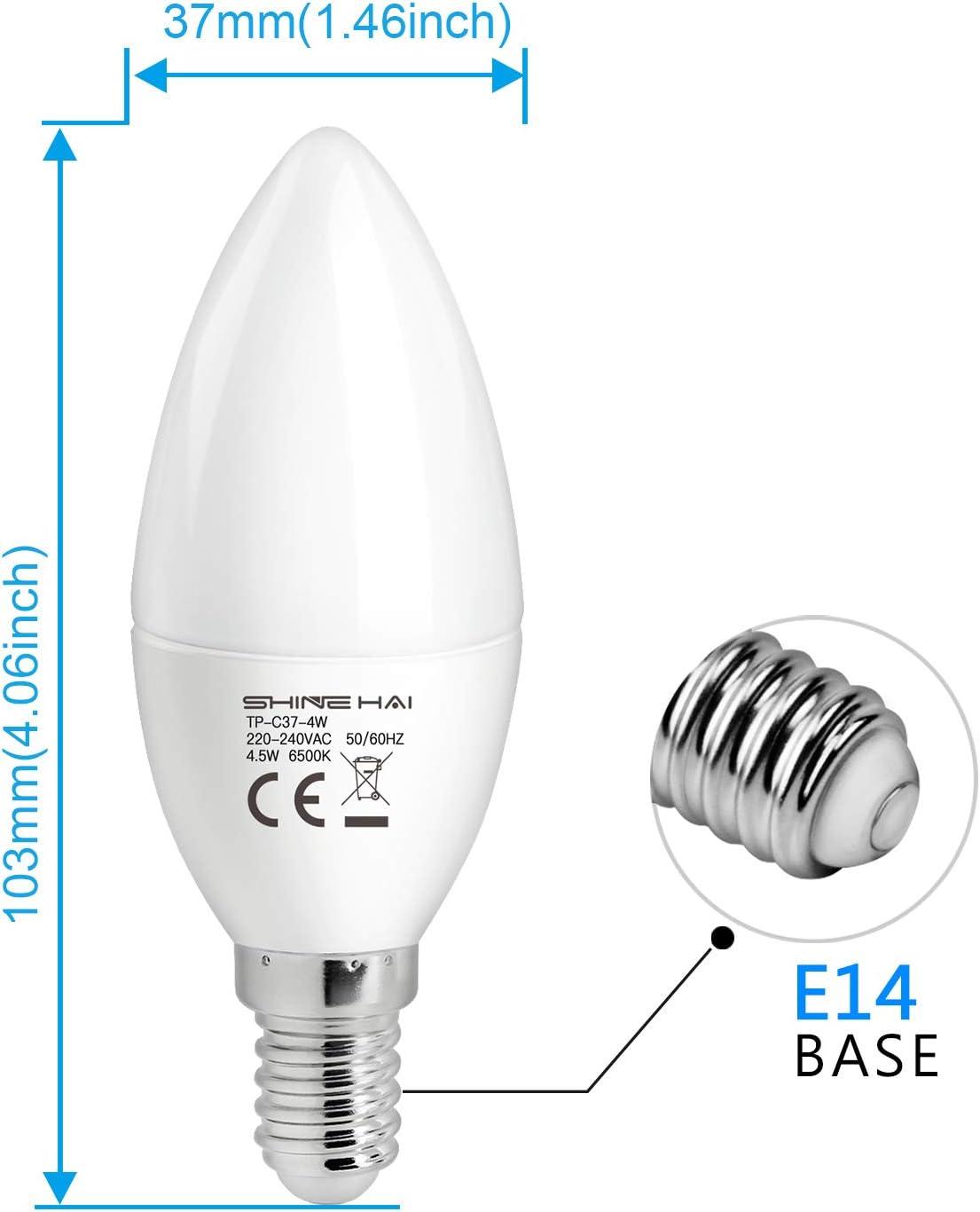 6x 5.5 W Bougie DEL Blanc Froid 4000K Ampoules SES E14 instantané sur LAMPES GLOBES