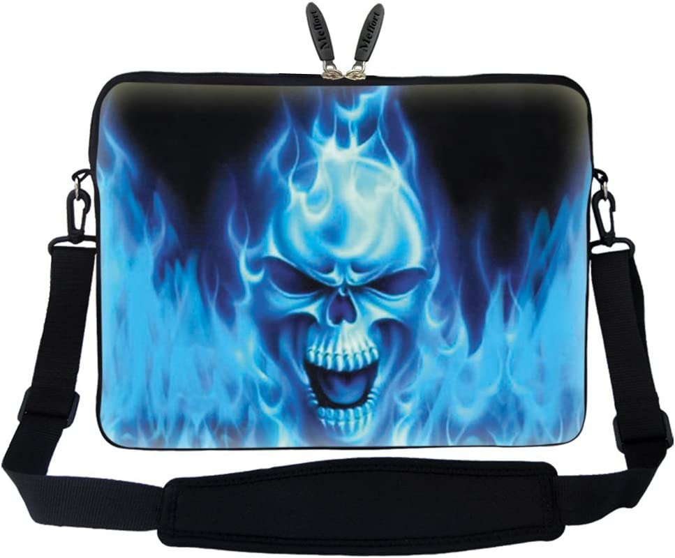 Meffort Inc 17 17.3 inch Neoprene Laptop Sleeve Bag Carrying Case with Hidden Handle and Adjustable Shoulder Strap - Blue Skull Face