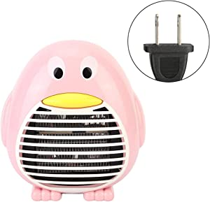 Fdit Household Portable Office Desktop Mini Electric Fan Heater Warmer for Winter PTC Heating (Pink)