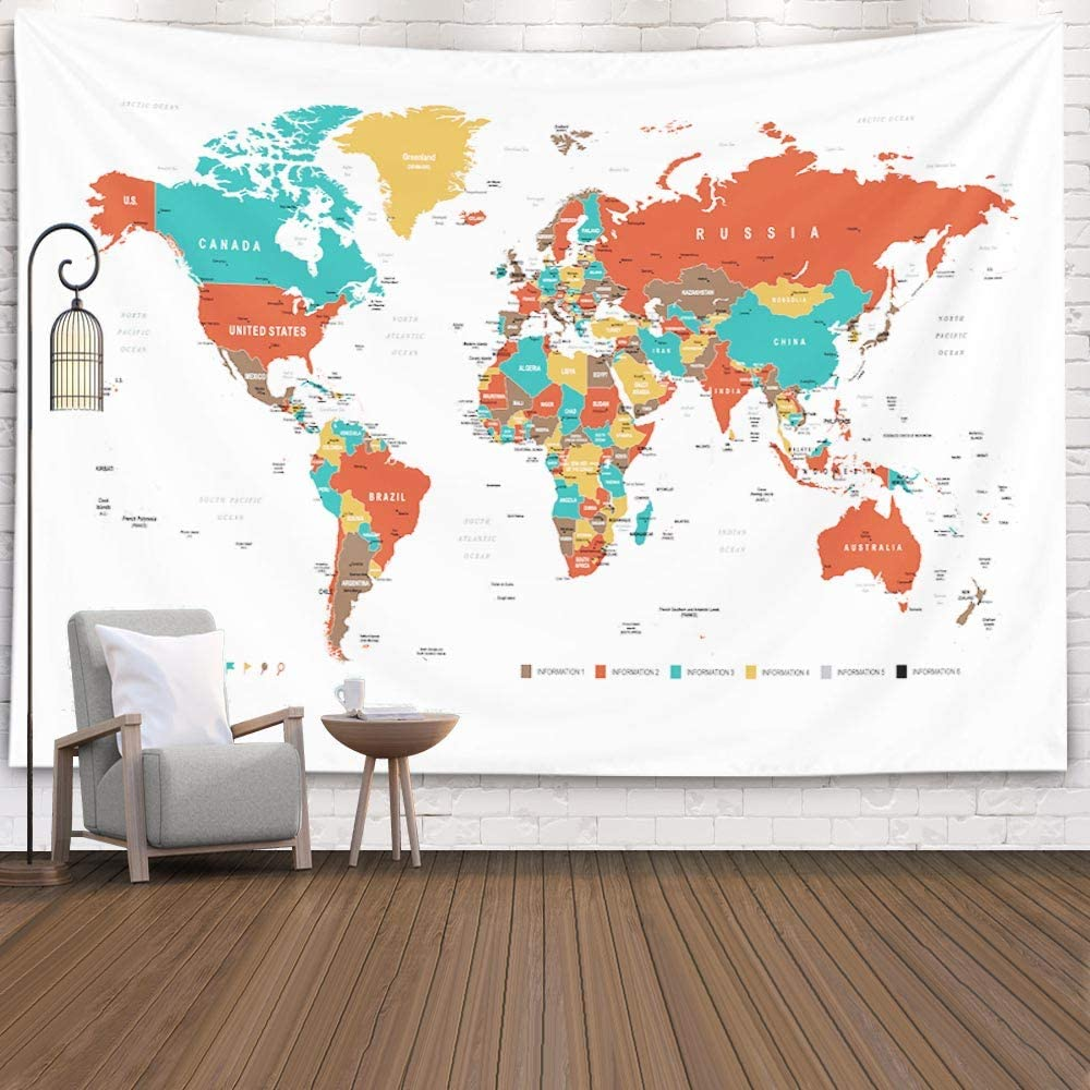 Large Map Tapestry,Capsceoll Camping World Map Colorful World Map Indoor Wall Art Wall Decorations for Living Room Wall Decor Bedroom Luck Wall Decor College Decor 80X60 Inches,White Orange