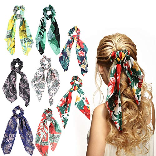 8 Pieces Bowknot Hair Scrunchies Scrunchy Hair Ties Elastic Bow Hair Bands for Women Girls Hair Accessories (Color Set 3, Chiffon)