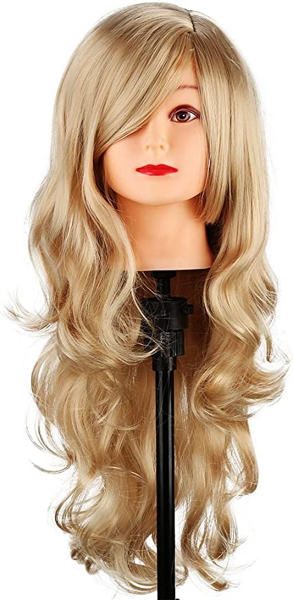 Frcolor resistente al calore capelli sintetici ondulati Parrucca lunga bionda ondulata