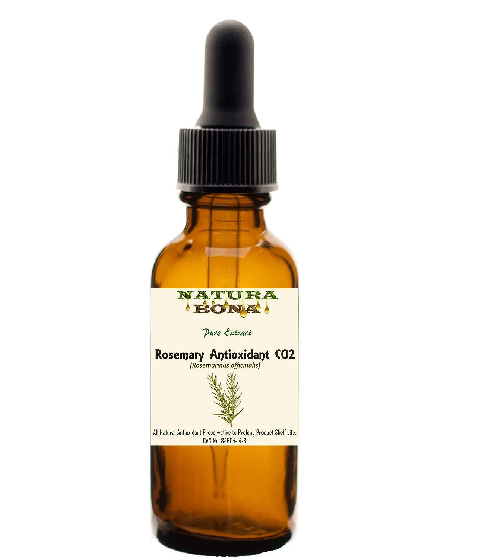 Natura Bona Rosemary CO2 Extract Antioxidant (ROE); Premium Quality 100% Pure: 1 Oz Amber Glass Calibrated Measuring Dropper Bottle.