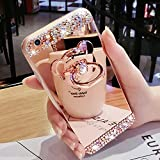 Bling Case for Samsung Galaxy s7 Edge Rose Gold Case LAPOPNUT Luxury Crystal Rhinestone Soft Rubber Bumper Cover Glitter Diamond Mirror Makeup Case with Cute 3D Bear Shape Ring Stand Holder