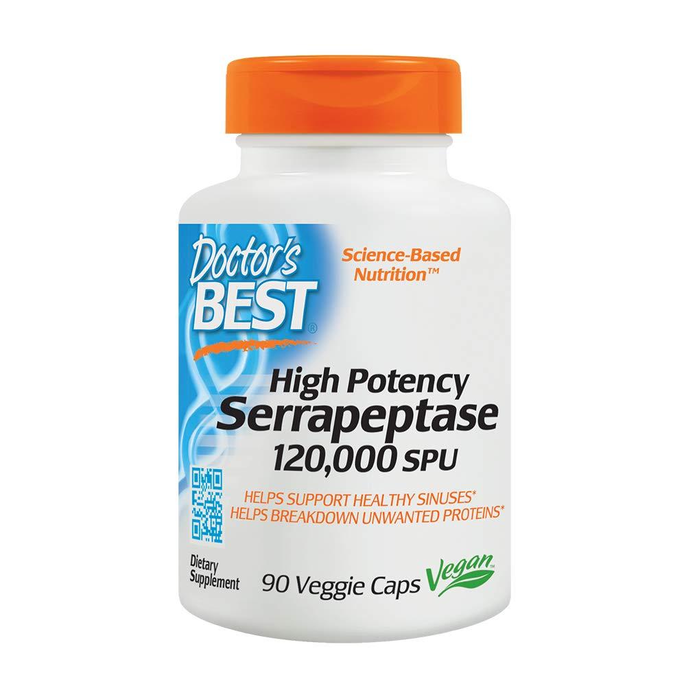 Doctor's Best High Potency Serrapeptase, Non-GMO, Gluten Free, Vegan, Supports Healthy Sinuses, 120,000 SPU, 90 Veggie Caps