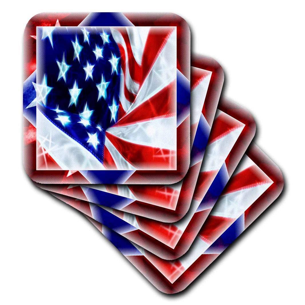 3dRose cst/_21971/_3 USA Flag-Ceramic Tile Coasters Set of 4