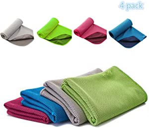 "Cooling Towel,Stay Chilly Towel,Yalan Cooling Towels for Neck 40""x12"",4 Pack"