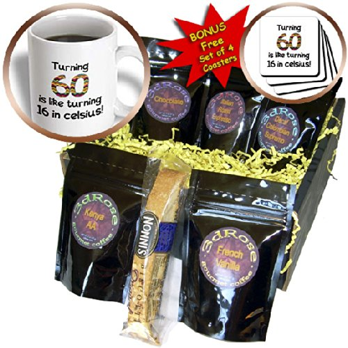InspirationzStore Occasions - Turning 60 is like turning 16 in celsius - humorous 60th birthday gift - Coffee Gift Baskets - Coffee Gift Basket (cgb_184962_1)