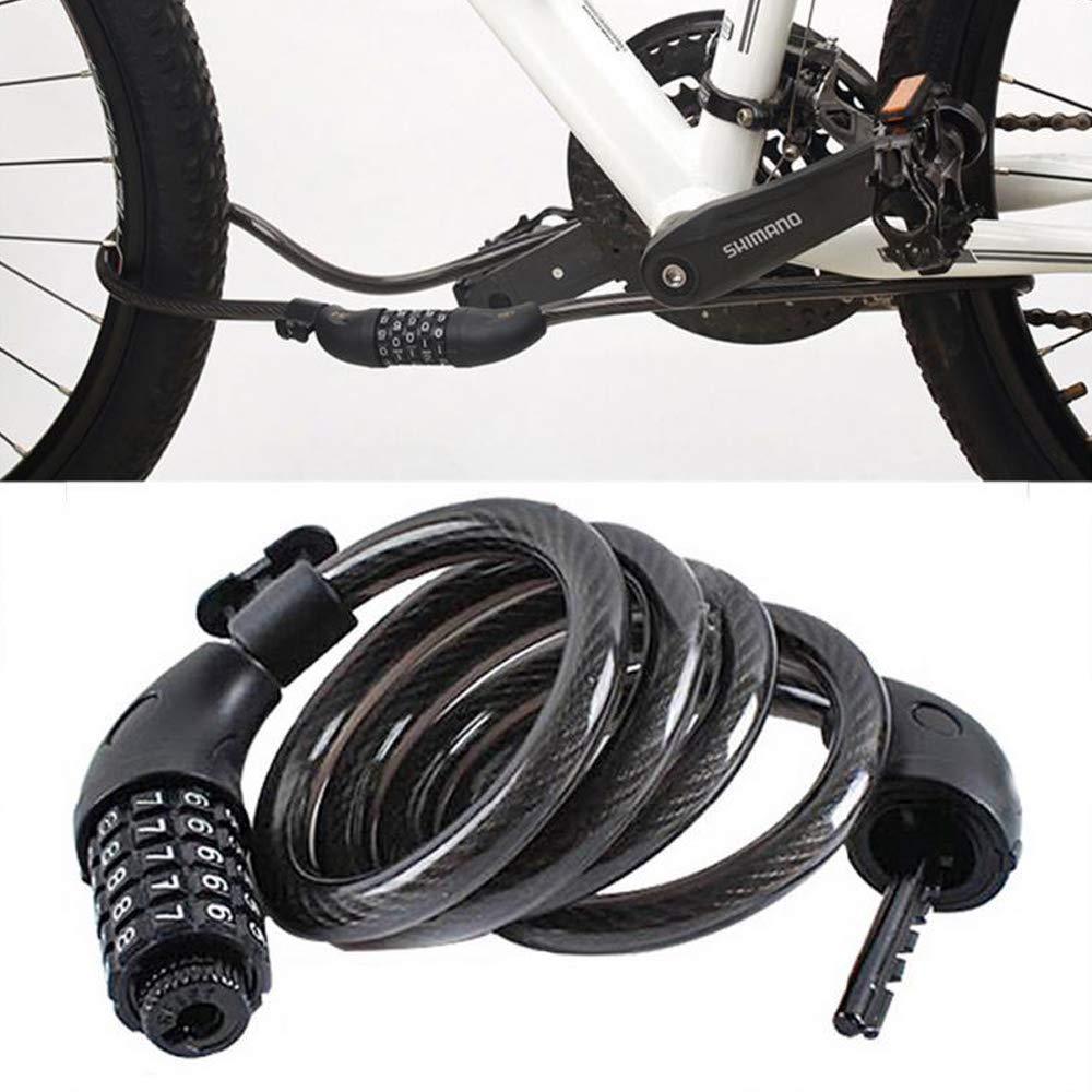 12 mm VOANZO Cerradura de Bicicleta con n/úmero reiniciable de 5 d/ígitos Cerradura de Cadena Resistente de 1200 mm Cerradura de Cable de combinaci/ón para Bicicleta