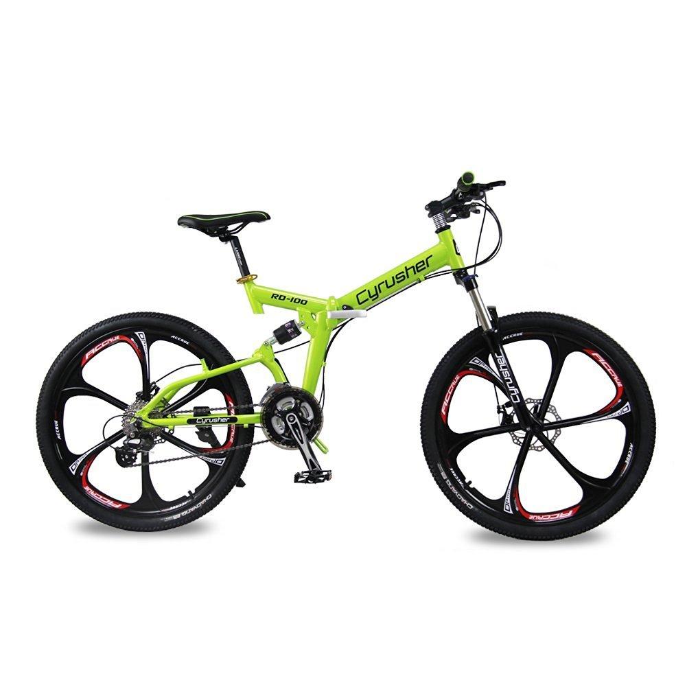 CYRUSHER RD-100 折りたたみ自転車26インチ マウンテンバイク MTB 前後減衰 シマノ 24段変速 B01LF3OR5E グリーン グリーン