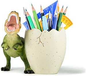 Banllis Pencil Holder Dinosaur Pen Holder for Desk Decorative Accessories for Home and Office Supplies Organizer, Cute Resin Gift for Men and Women (Green)