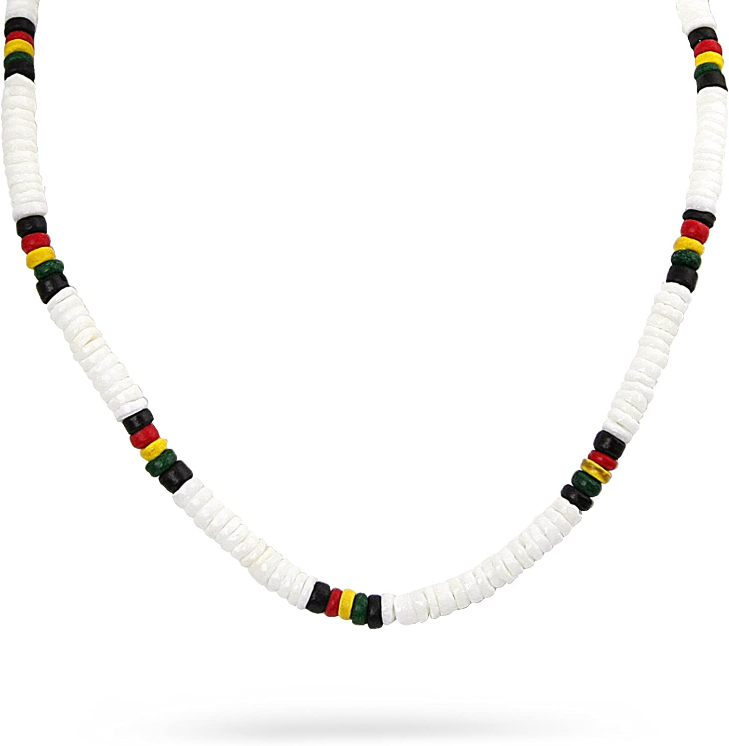 JewelryVolt Fashion Necklace Small Beads Rasta Rastafari Colored Hand Crafted Strand