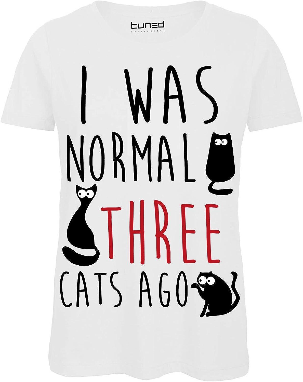 CHEMAGLIETTE T-Shirt Divertente Donna Maglietta con Stampa Gatti I Was Normal 3 Cats Ago Tuned