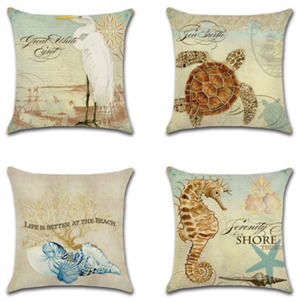 """Decorative Set of 4 Animal Theme Throw Pillow Cover Cotton Linen Cushion Covers Without pillow 18"""" x 18"""" 45cm x 45cm-Seahorse, Sea turtle, Conch,Seabird"""