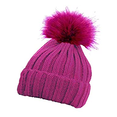 3a842bfce92 Children s Ribbed Hat with Solid Faux Fur Pom Pom Warm Bobble Hats (Hot  Pink)