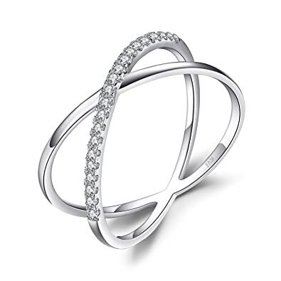Titaniumcentral? Sterling Silver Criss Cross X Long Rings with Full CZ Wedding Engagement Gift ON3Qos2B