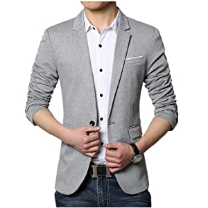 AIKEE メンズ 1つボタン テーラード ジャケット 春 ノッチドラペル 大きいサイズ 黒/ネイビー/灰色/ワイン