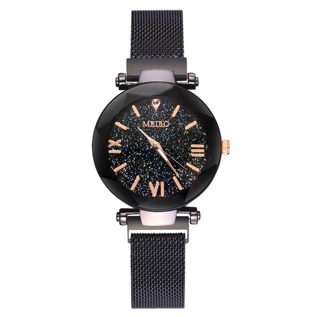 2019 Spring Deals! Fashion Women Watches Quartz Stainless Steel Wristwatch Magnet Buckle Starry Sky Analog Wrist Watch Lover Gift Valentine's Day Present (Black)